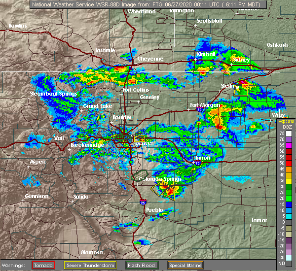 Radar Image for Severe Thunderstorms near Denver, CO at 6/26/2020 6:25 PM MDT