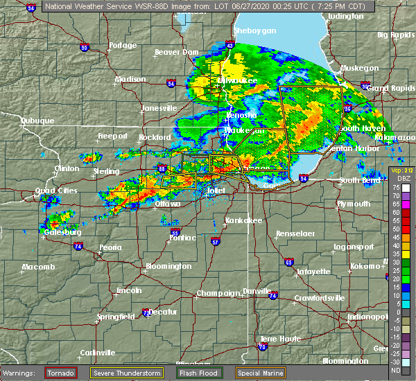 Radar Image for Severe Thunderstorms near Yorkville, IL at 6/26/2020 7:30 PM CDT
