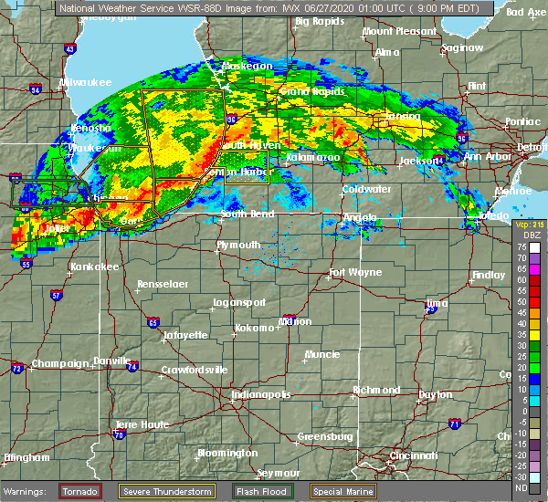 Radar Image for Severe Thunderstorms near Coloma, MI at 6/26/2020 9:08 PM EDT