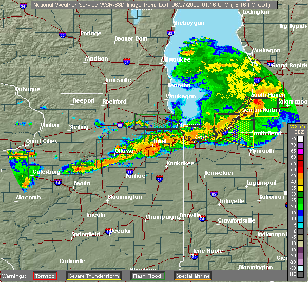 Radar Image for Severe Thunderstorms near Chicago Heights, IL at 6/26/2020 8:25 PM CDT