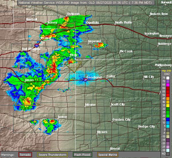 Radar Image for Severe Thunderstorms near Vernon, CO at 6/26/2020 7:40 PM MDT