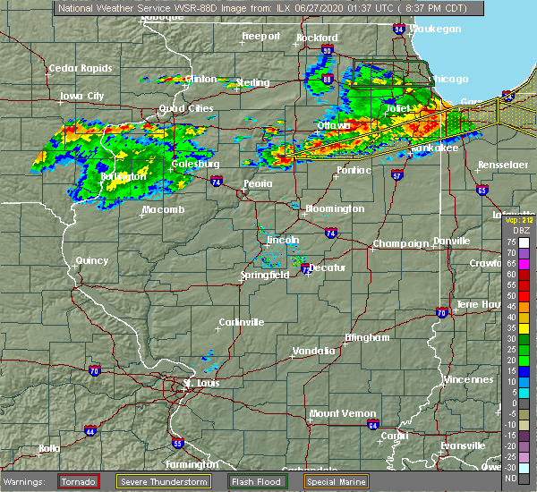 Radar Image for Severe Thunderstorms near Wenona, IL at 6/26/2020 8:42 PM CDT
