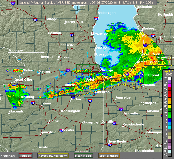Radar Image for Severe Thunderstorms near Chicago Heights, IL at 6/26/2020 8:45 PM CDT