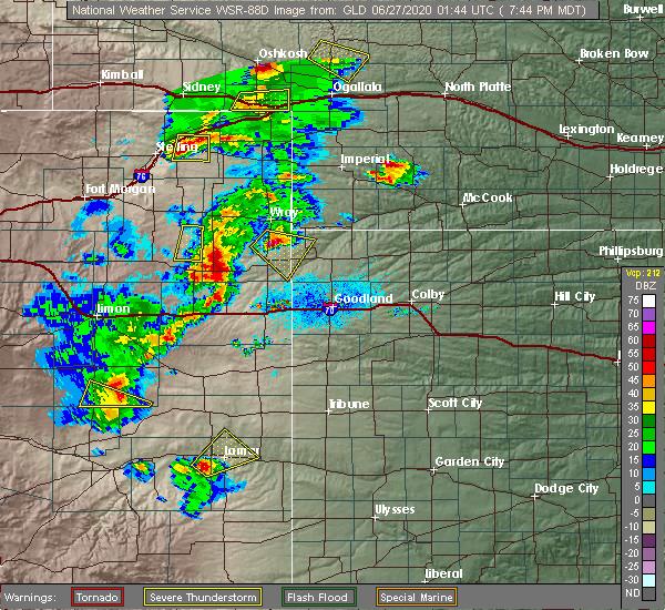 Radar Image for Severe Thunderstorms near Vernon, CO at 6/26/2020 7:47 PM MDT