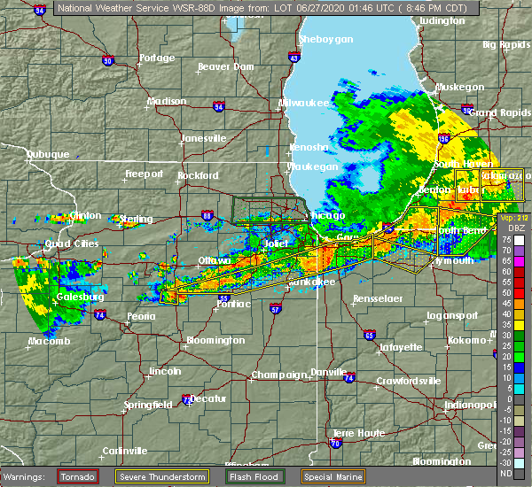 Radar Image for Severe Thunderstorms near Lowell, IN at 6/26/2020 8:53 PM CDT