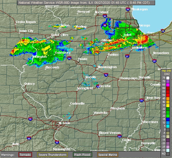 Radar Image for Severe Thunderstorms near Wenona, IL at 6/26/2020 8:54 PM CDT