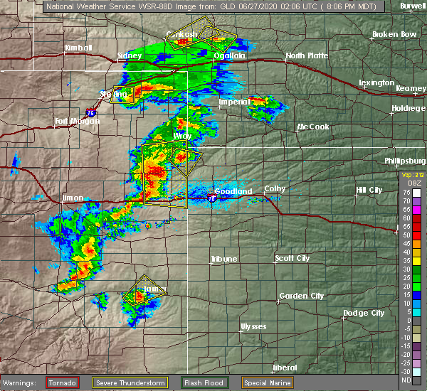 Radar Image for Severe Thunderstorms near Kirk, CO at 6/26/2020 8:09 PM MDT