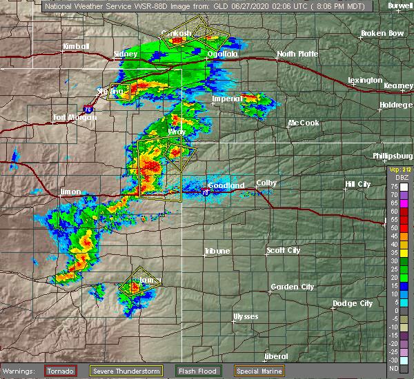 Radar Image for Severe Thunderstorms near Bethune, CO at 6/26/2020 8:09 PM MDT