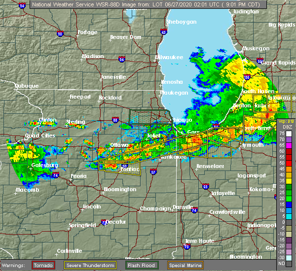 Radar Image for Severe Thunderstorms near Lowell, IN at 6/26/2020 9:09 PM CDT