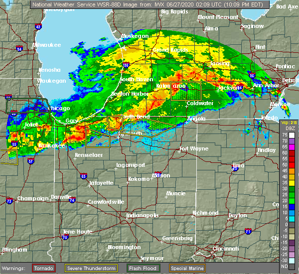 Radar Image for Severe Thunderstorms near Syracuse, IN at 6/26/2020 10:17 PM EDT