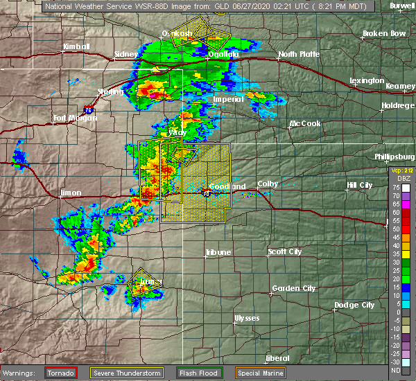 Radar Image for Severe Thunderstorms near Paoli, CO at 6/26/2020 8:26 PM MDT