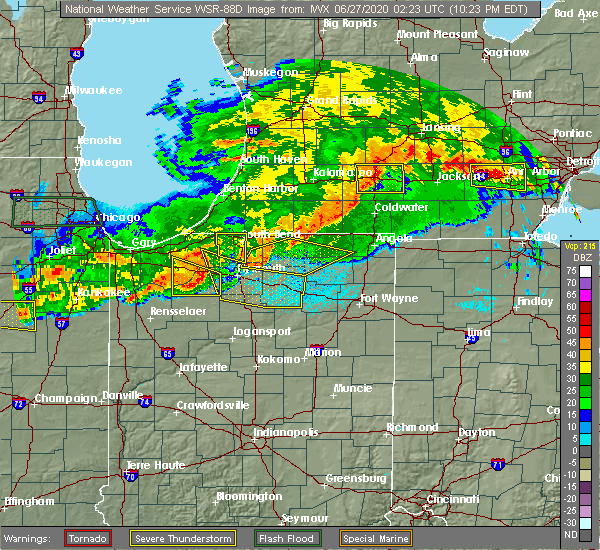 Radar Image for Severe Thunderstorms near North Liberty, IN at 6/26/2020 10:26 PM EDT