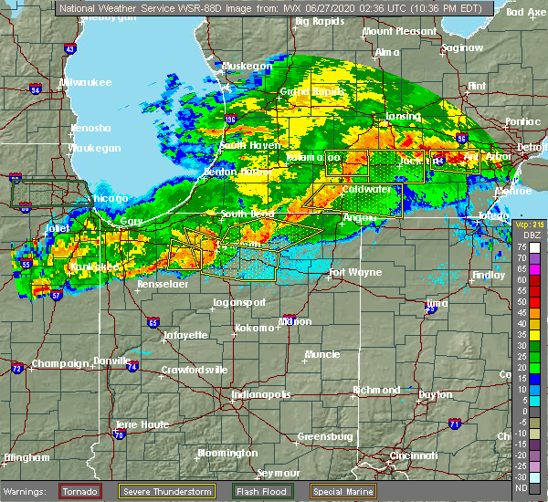 Radar Image for Severe Thunderstorms near Syracuse, IN at 6/26/2020 10:43 PM EDT