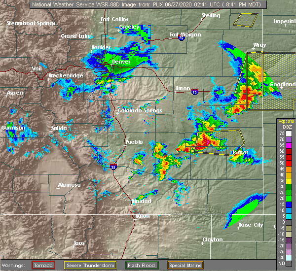 Radar Image for Severe Thunderstorms near Lamar, CO at 6/26/2020 8:44 PM MDT
