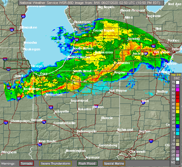 Radar Image for Severe Thunderstorms near Albion, IN at 6/26/2020 10:57 PM EDT