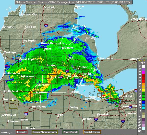 Radar Image for Severe Thunderstorms near Blissfield, MI at 6/26/2020 11:12 PM EDT