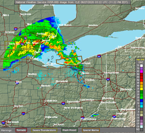 Radar Image for Severe Thunderstorms near Mayfield, OH at 6/26/2020 11:26 PM EDT