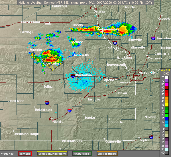 Radar Image for Severe Thunderstorms near Clyde, KS at 6/26/2020 10:34 PM CDT