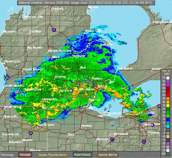 Radar Image for Severe Thunderstorms near Blissfield, MI at 6/26/2020 11:46 PM EDT