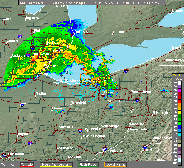 Radar Image for Severe Thunderstorms near Brooklyn, OH at 6/26/2020 11:56 PM EDT