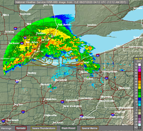 Radar Image for Severe Thunderstorms near Swanton, OH at 6/27/2020 12:18 AM EDT