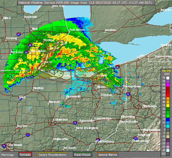 Radar Image for Severe Thunderstorms near South Canal, OH at 6/27/2020 12:29 AM EDT