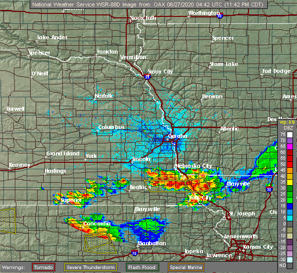 Radar Image for Severe Thunderstorms near Peru, NE at 6/26/2020 11:45 PM CDT