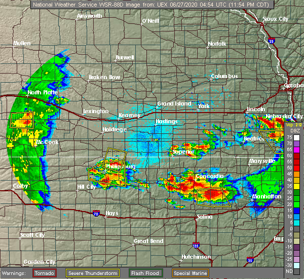 Radar Image for Severe Thunderstorms near Alton, KS at 6/27/2020 12:00 AM CDT
