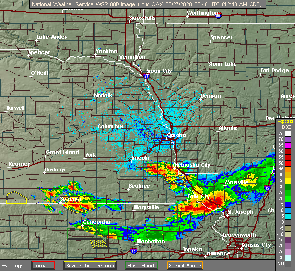 Radar Image for Severe Thunderstorms near Peru, NE at 6/27/2020 12:49 AM CDT