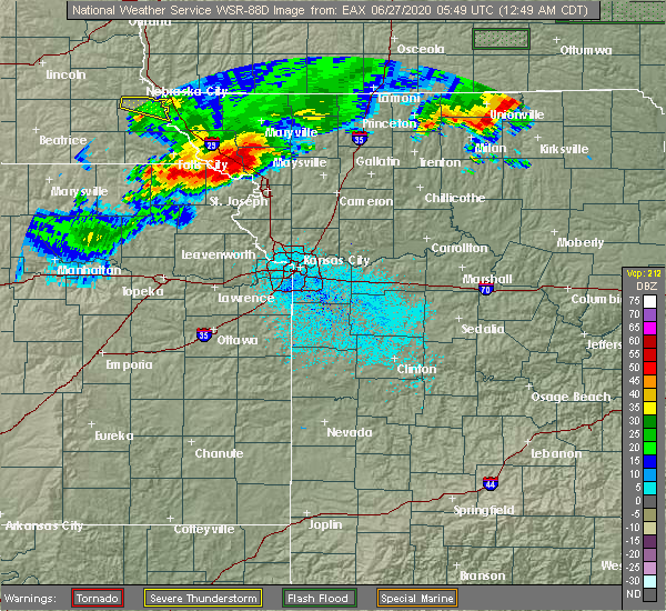 Radar Image for Severe Thunderstorms near Rosendale, MO at 6/27/2020 12:53 AM CDT