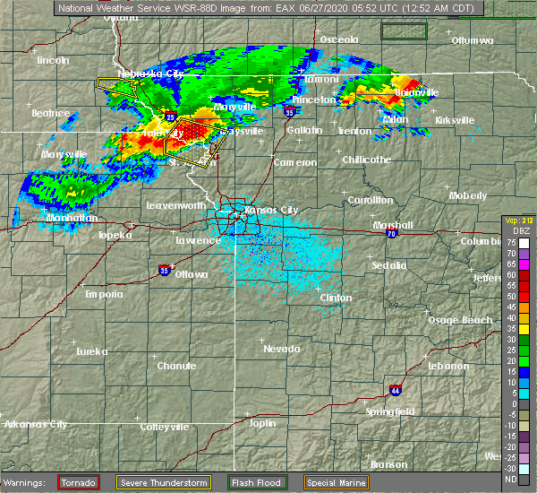 Radar Image for Severe Thunderstorms near Rosendale, MO at 6/27/2020 12:56 AM CDT