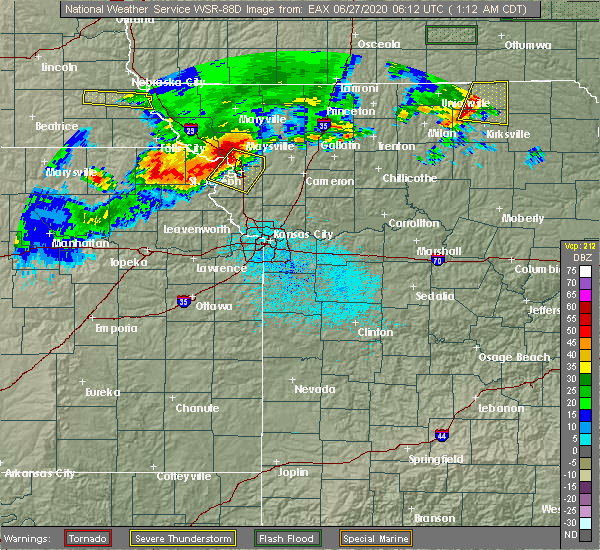 Radar Image for Severe Thunderstorms near Amazonia, MO at 6/27/2020 1:18 AM CDT