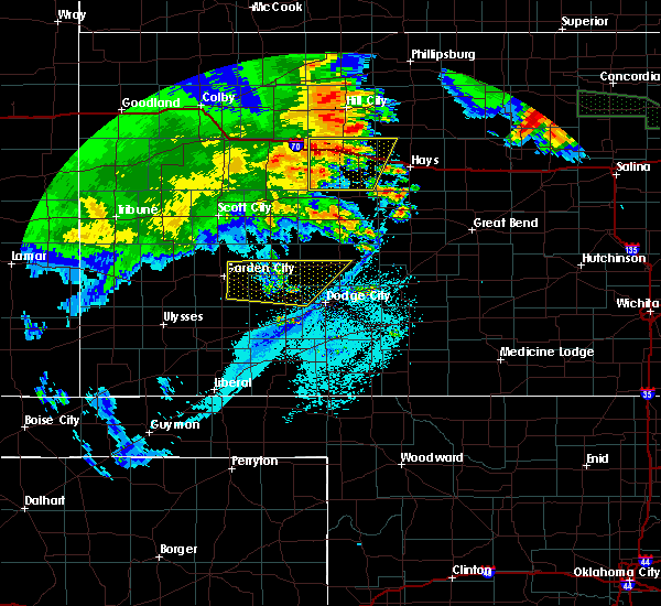 Radar Image for Severe Thunderstorms near Ingalls, KS at 6/27/2020 1:42 AM CDT