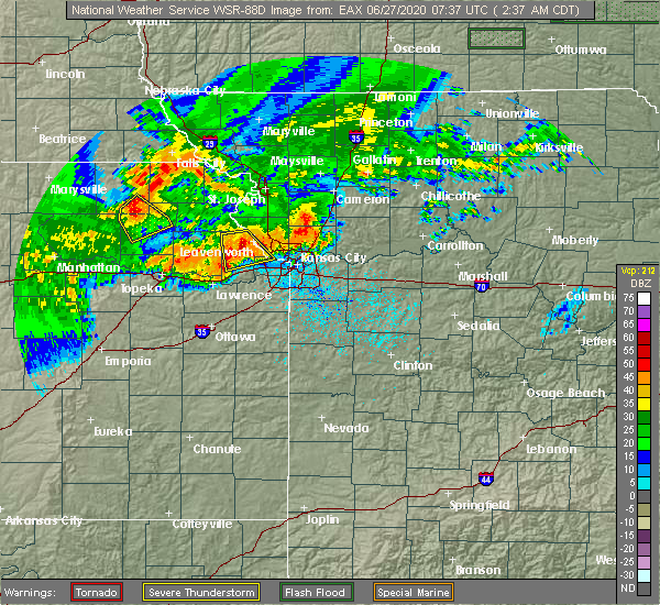 Radar Image for Severe Thunderstorms near Prairie Village, KS at 6/27/2020 2:38 AM CDT