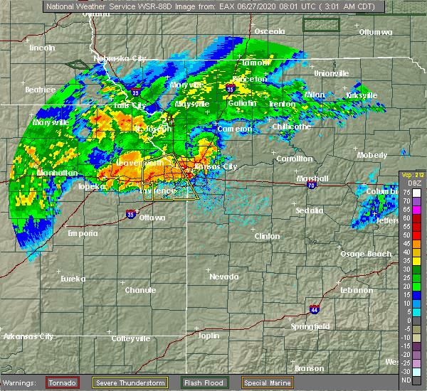 Radar Image for Severe Thunderstorms near Baldwin City, KS at 6/27/2020 3:04 AM CDT