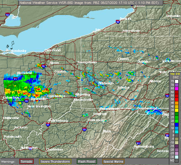 Radar Image for Severe Thunderstorms near Deersville, OH at 6/27/2020 1:16 PM EDT