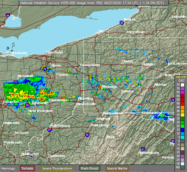 Radar Image for Severe Thunderstorms near Deersville, OH at 6/27/2020 1:29 PM EDT