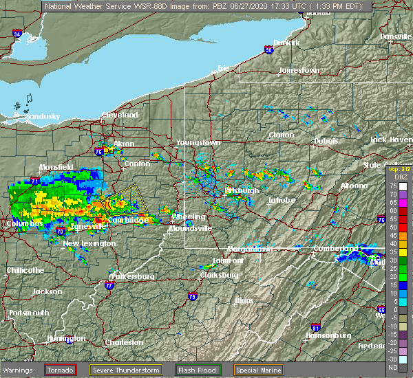 Radar Image for Severe Thunderstorms near Deersville, OH at 6/27/2020 1:38 PM EDT