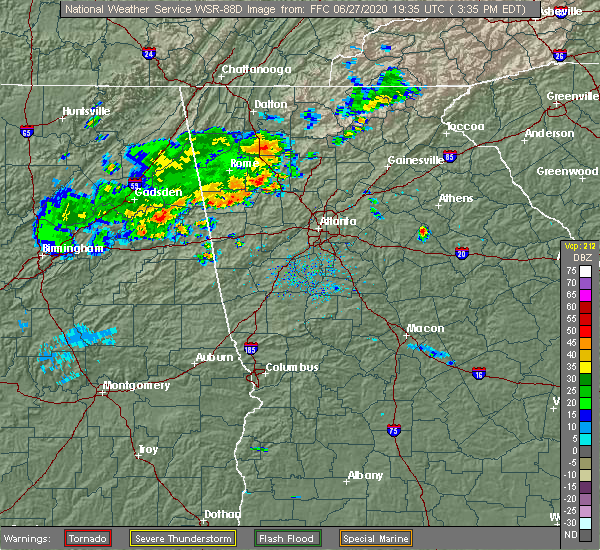 Radar Image for Severe Thunderstorms near Emerson, GA at 6/27/2020 3:37 PM EDT
