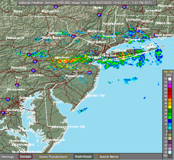 Radar Image for Severe Thunderstorms near Heathcote, NJ at 6/27/2020 3:50 PM EDT
