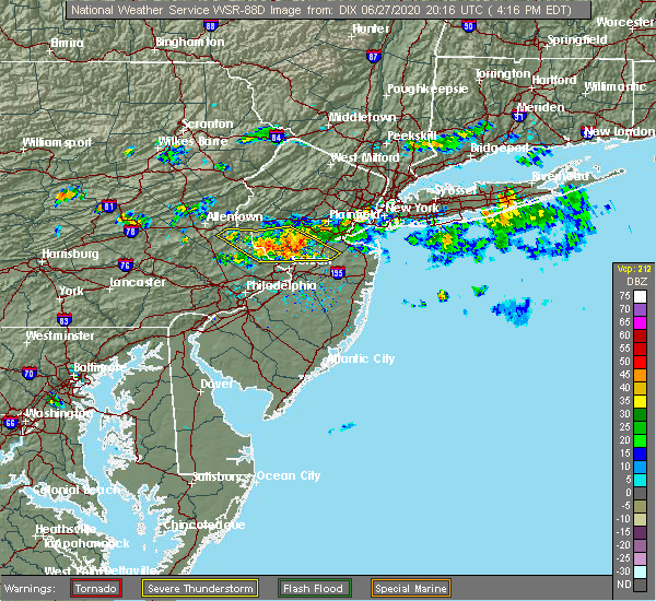 Radar Image for Severe Thunderstorms near Heathcote, NJ at 6/27/2020 4:20 PM EDT