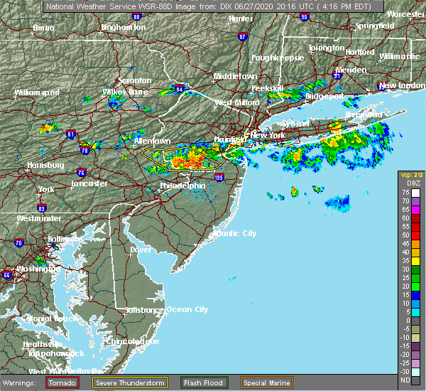 Radar Image for Severe Thunderstorms near Heathcote, NJ at 6/27/2020 4:25 PM EDT