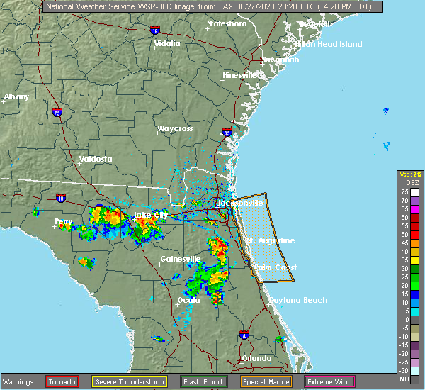 Radar Image for Severe Thunderstorms near World Golf Village, FL at 6/27/2020 4:26 PM EDT