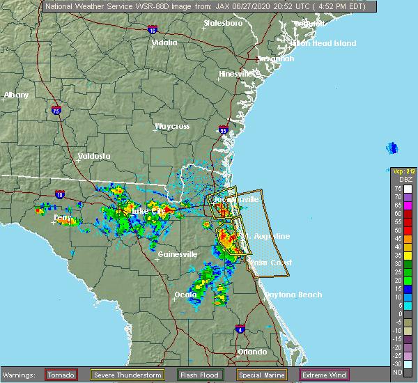 Radar Image for Severe Thunderstorms near Jacksonville, FL at 6/27/2020 4:56 PM EDT