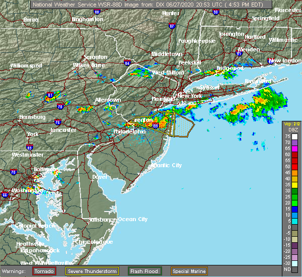 Radar Image for Severe Thunderstorms near Hightstown, NJ at 6/27/2020 4:58 PM EDT