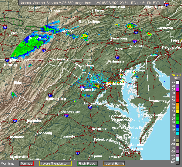 Radar Image for Severe Thunderstorms near Mount Rainier, MD at 6/27/2020 5:03 PM EDT