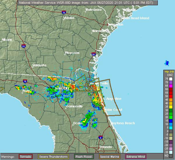 Radar Image for Severe Thunderstorms near Jacksonville, FL at 6/27/2020 5:08 PM EDT