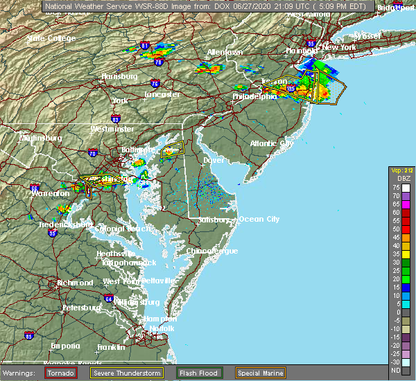 Radar Image for Severe Thunderstorms near Kennedyville, MD at 6/27/2020 5:15 PM EDT