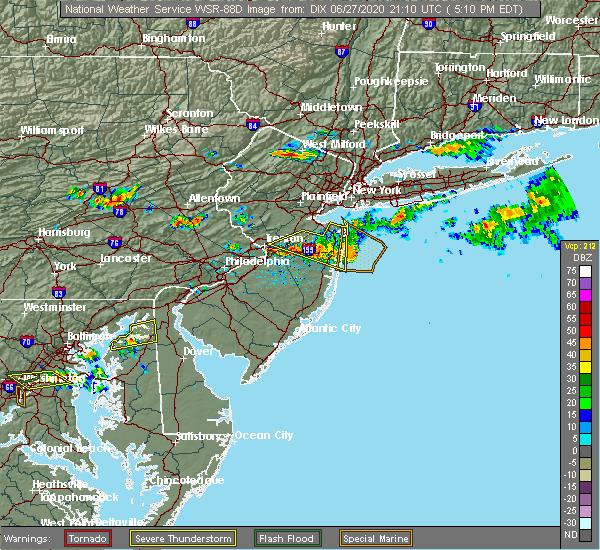 Radar Image for Severe Thunderstorms near Allentown, NJ at 6/27/2020 5:15 PM EDT