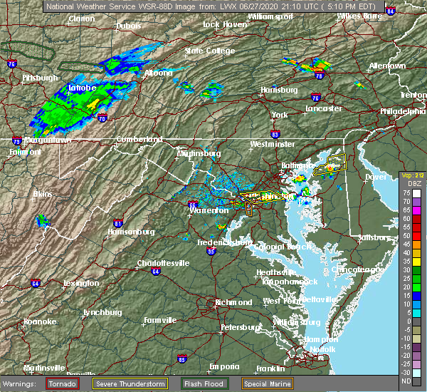 Radar Image for Severe Thunderstorms near Crofton, MD at 6/27/2020 5:16 PM EDT